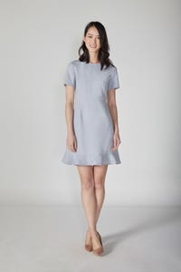 Fluted Hem Dress W/ Back Detail