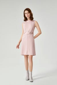 Ponte Fitted Dress with Metal Eyelet Detail