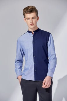 Smart Fit Stand Collar Colour Block Shirt