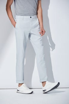 Slim Fit Polyester Flat Front Pants with Elastic Waist Band