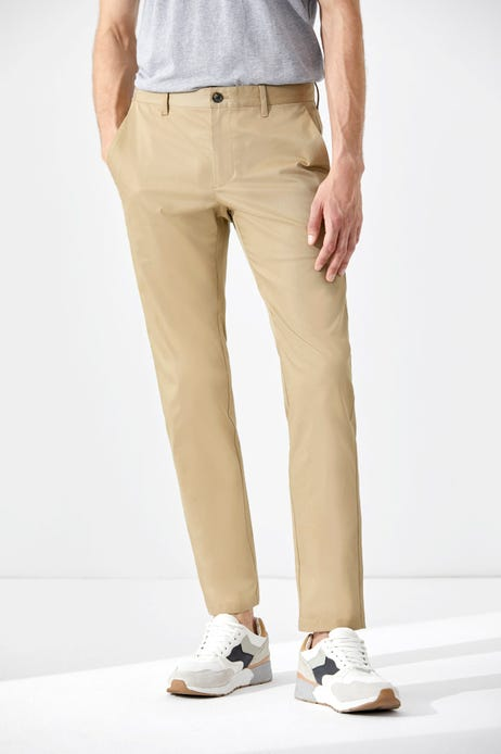Slim Fit Polyester Spandex Flat Front Pants
