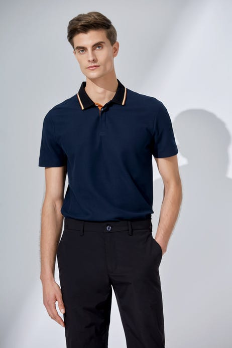 Textured Tipped Collar Polo