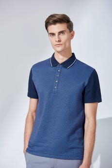 Seersucker Knitted Colour Block Polo