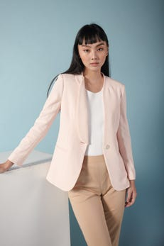 Easy Fit Blazer with Asymmetrical Lapel