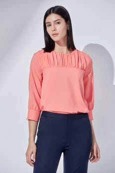 Ruched Yoke Blouse with Three Quarter Sleeves