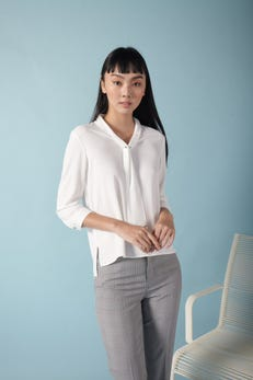 Neck Tie 3/4 Sleeve Blouse with Metal Pin Detail