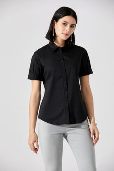 Short Sleeve Shirt With Piping Detail