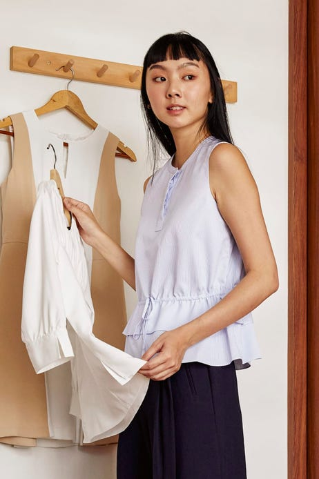 Striped Ruched Waist Blouse with Ruffled Detailing