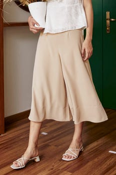 Smooth Poly Flare Culottes