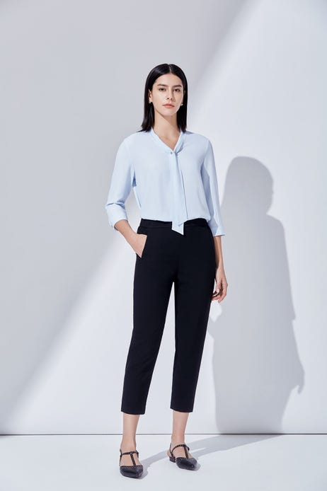 Poly Weave Tapered Pants with Elastic Waist