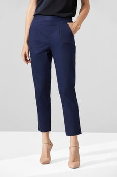 Cropped Easy Fit Sateen Pants