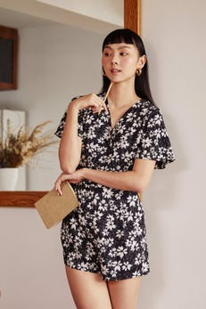 Short Sleeve Floral Printed Playsuit