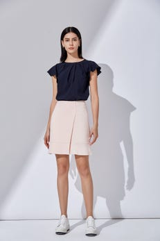 A-Shape Flare Skirt with Buttoned Detail