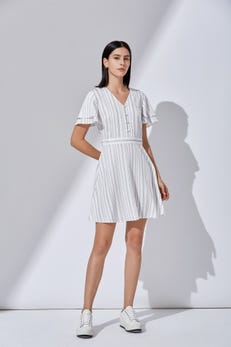 Striped Fit and Flare Dress with Ruffled Sleeves