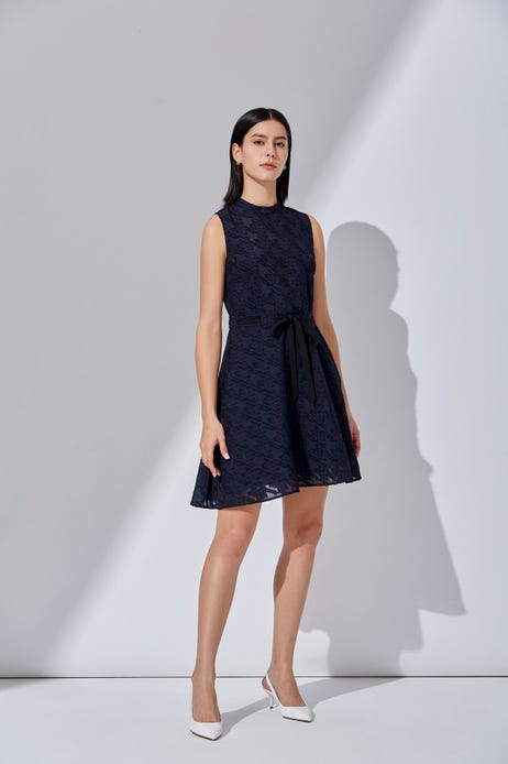 Jacquard Houndstooth Fit and Flare Dress