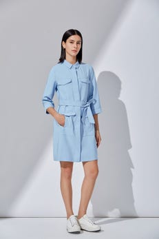 Rayon Collared Shift Dress with Roll-Up Sleeves