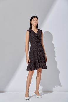 Dot Print Ruffled Fit and Flare Dress