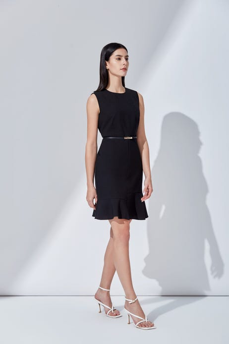 Fitted Dress with Flared Hem