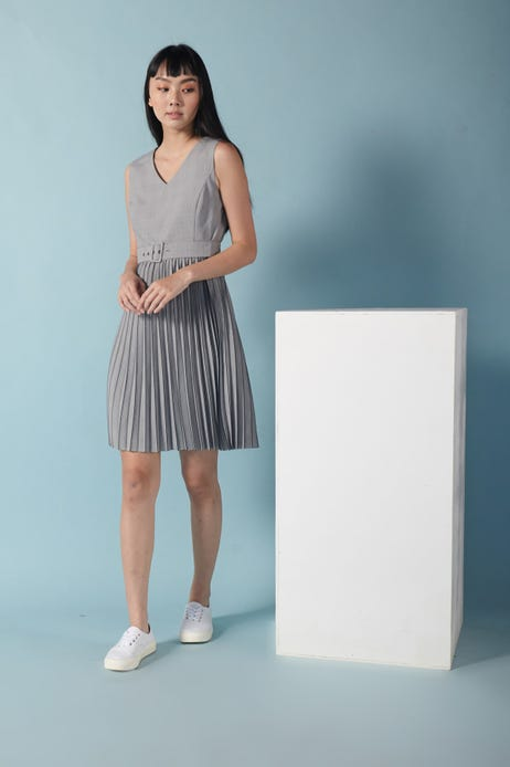 Prince of Wales Check Pleated Fit And Flare Dress with Belt