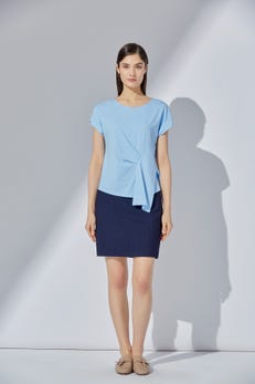 Mercerized Cotton Tee with Asymmetric Detailing