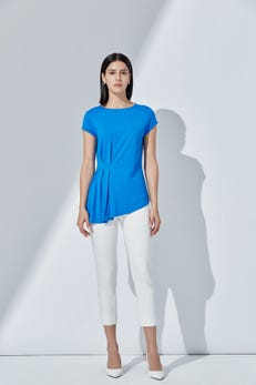 Pleated Mercerized Cotton Jersey Tee