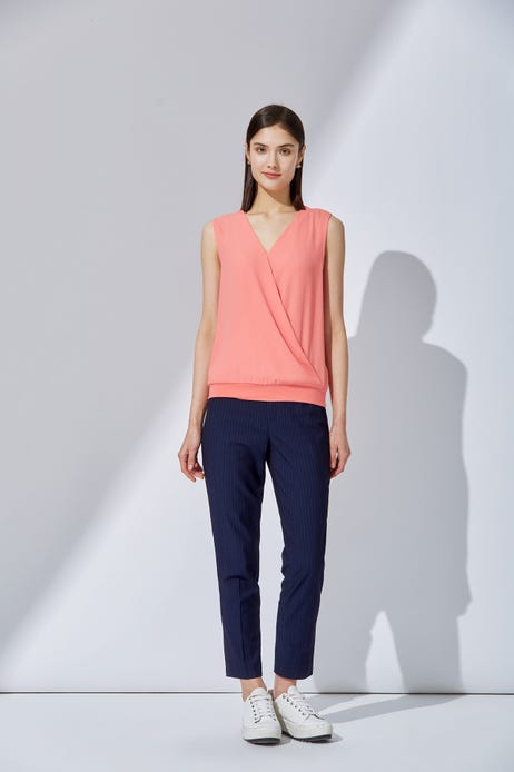 Mercerized Cotton Jersey Top with Pleated Detailing
