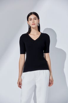 Combed Cotton Pleated Sweater