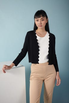 Scallop Edge Cardigan with Three Quarter Sleeves