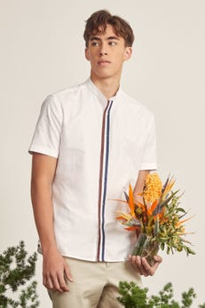 Stand Collar Oxford Shirt with Twill Tape Details