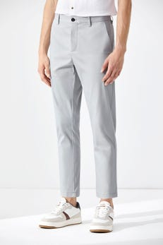 Tapered Fit Polyester Spandex Flat Front Pants