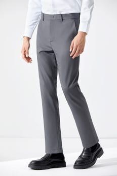 Tapered Fit Tencel Flat Front Pants with Elastic Waist Band