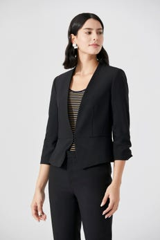 Open Blazer With Gathered Sleeves