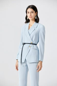 Double-Breasted Belted Twill Blazer