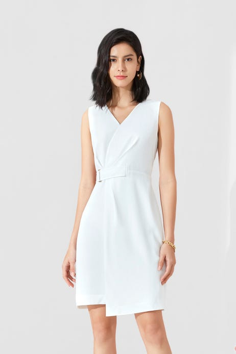 Dry Touch Poly Twill Fitted Dress