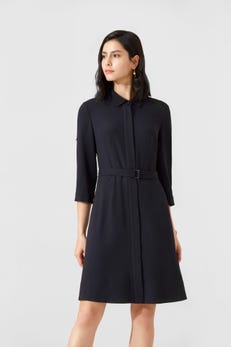 Polyester Crinkle Dress With Roll-Up Sleeves