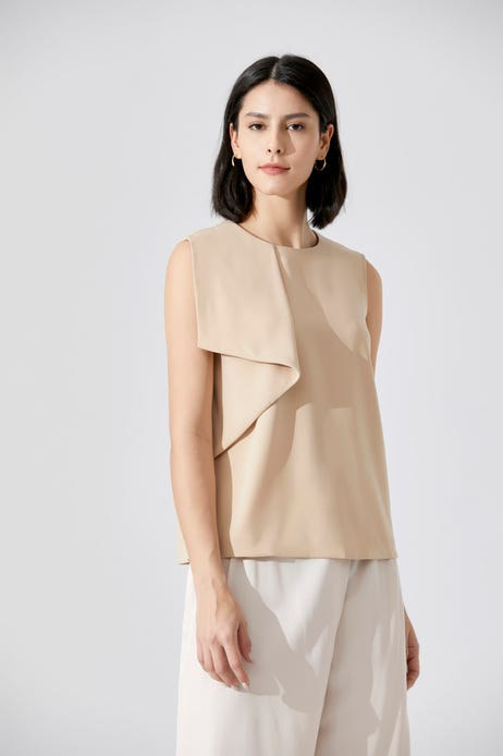 Deluxe Poly Folded Front Blouse