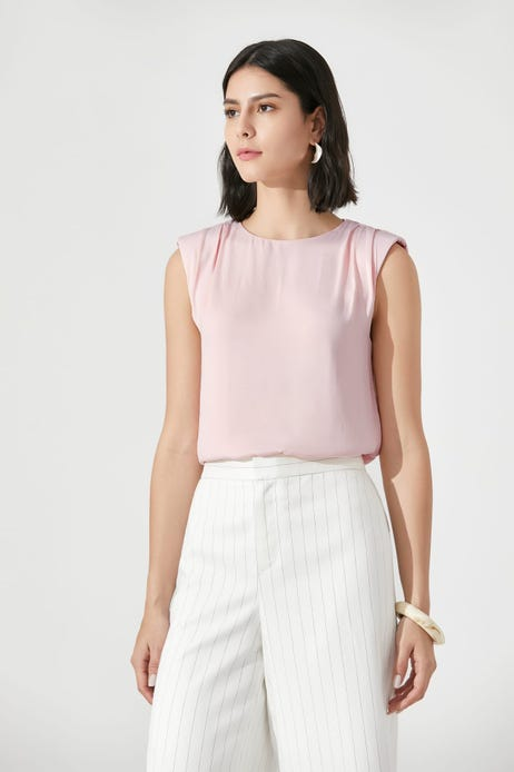 Rayon Twill Blouse With Shoulder Pads