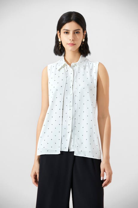 Dot Printed Layered Belted Blouse