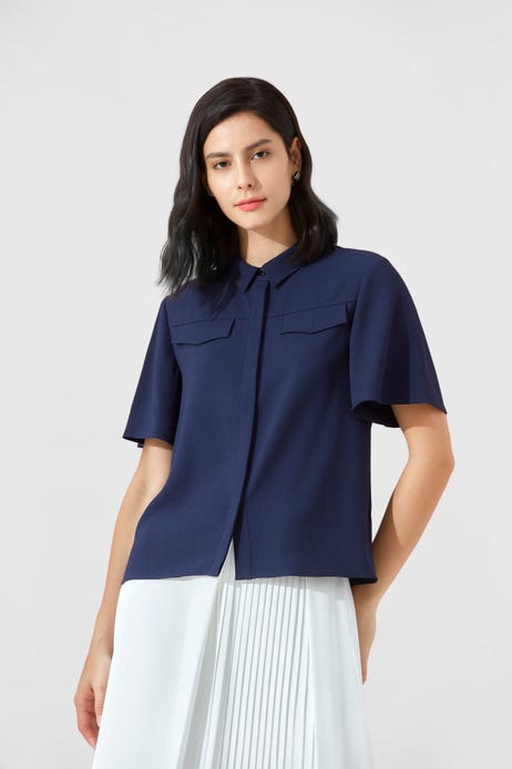 Half Sleeved Blouse With Shirt Collar