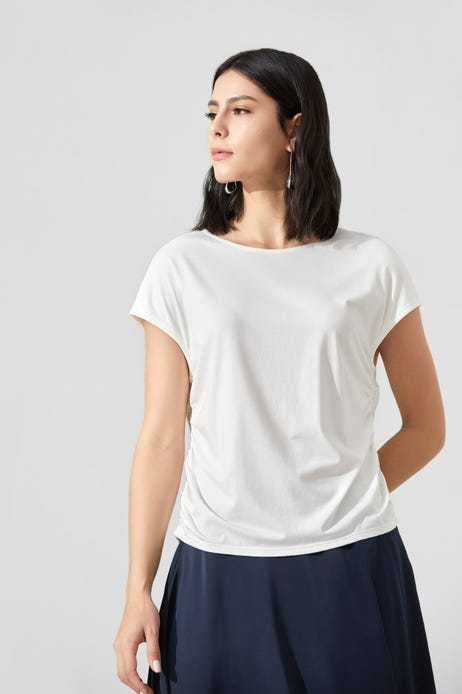 Round Neck Tee With Drawstring Detail