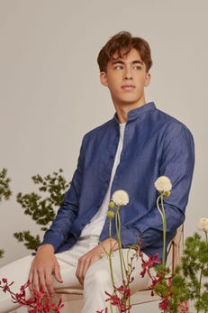 Smart Fit Chambray Stand Collar Shirt