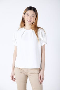 Puff Sleeve Blouse with Pleated Neckline