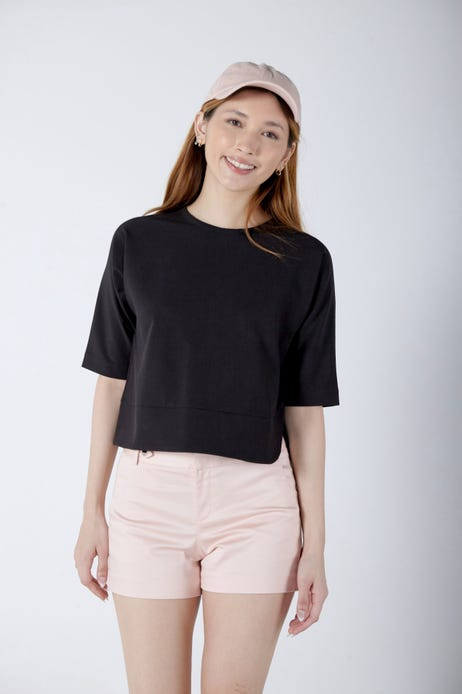 Curved Hem Cropped Blouse