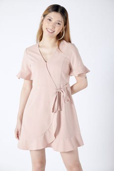 Ruffle Wrap Dress with Flared Sleeves