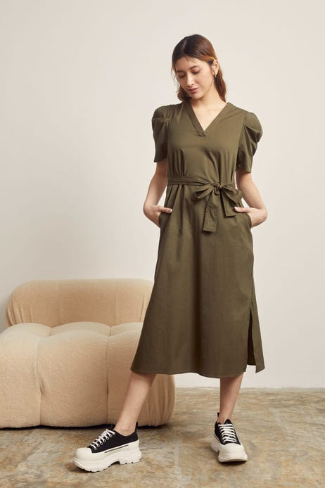 Balloon Sleeved Belted Maxi Dress