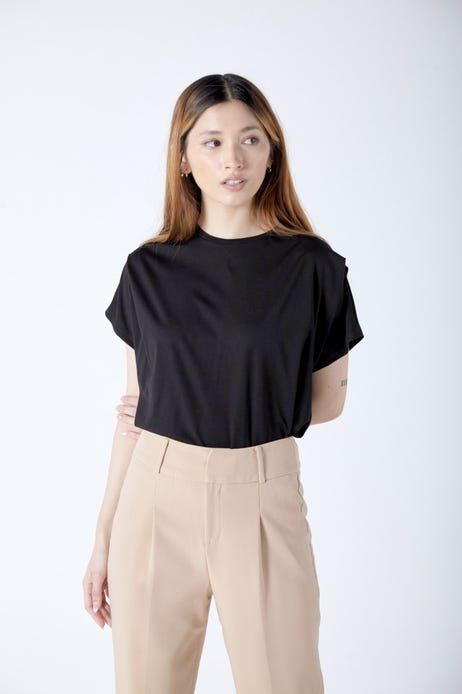 Loose Tee with Shoulder Pleat Detail