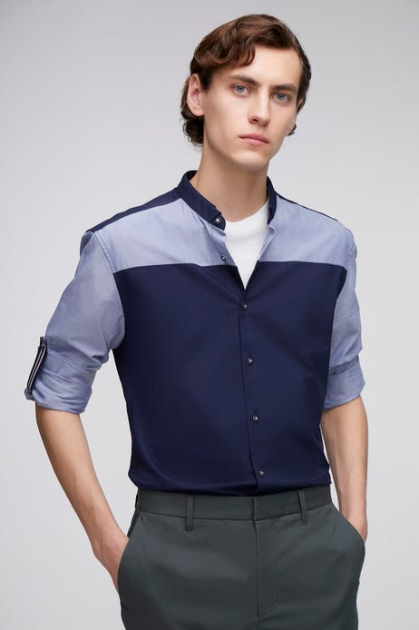 Smart Fit Color Blocking Stand Collar Oxford Shirt