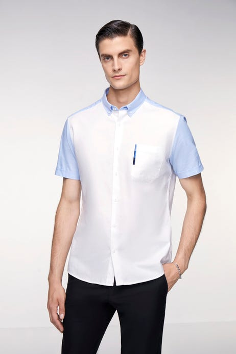 Smart Fit Colour Blocking Oxford Shirt with Embroidery Chest Pocket