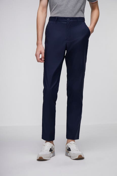 Tapered Fit Flat Front Pants With Elastic Waistband