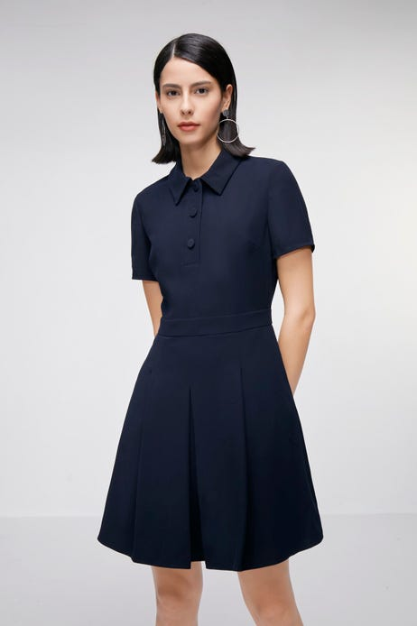 Short- Sleeve Dress with Contrast Pleats
